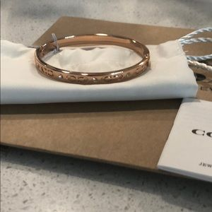 Coach rose gold bangle with pave cz accents